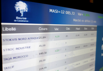 An electronic board shows the Moroccan Composite Stock in a photo illustration at Casablanca stock exchange office in Casablanca