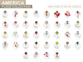 Map and Flag in Circle, America Countries Collection.