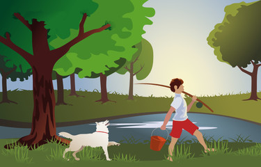 Мальчик идет на рыбалку с важным псом вектор пруд