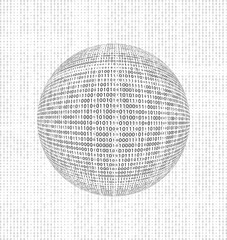 binary code globe