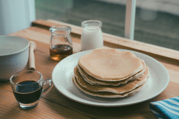 Pancakes for Breakfast, Delicious Breakfast, pancakes and coffee, Coffee with milk, vintage tone