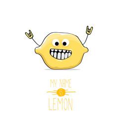vector funny cartoon cute yellow lemon