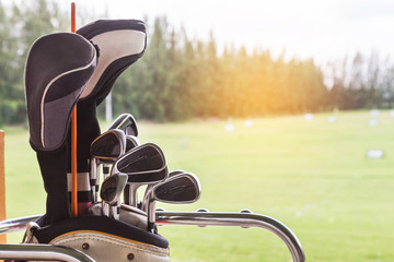 Metal golf clubs in leather baggage in golf course driving range