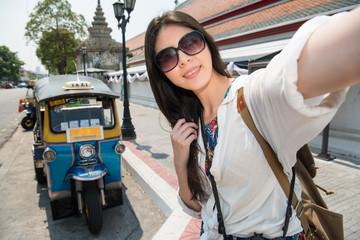 Travel selfie smart phone by woman