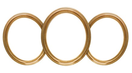 Gold frame of three parts (triptych) on a white background for paintings, mirrors or photos
