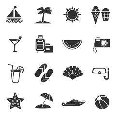 Summer, monochrome icons set. Vacation at sea and traveling. isolated vector illustrations.