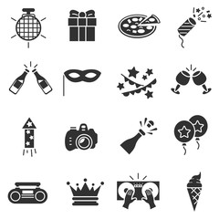 Party, monochrome icons set. Celebration, simple symbols collection