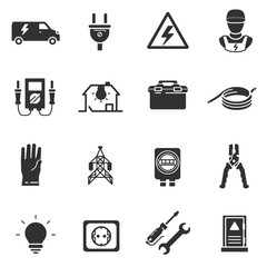 Tools and equipment for electrical work. Electrician, monochrome icons set. Energetics, simple symbols collection.
