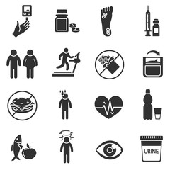 Diabetes. Monochrome icons set. Diagnosis and health care.