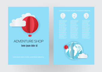 Banner or flyer with balloons in the style of paper design on a blue background. Vector cute picture