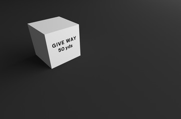 3D RENDERING OF ROAD SIGN ON WHITE CUBE WITH GREY BACKGROUND