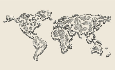 Hand drawing doodle world map. Vintage earth vector sketch