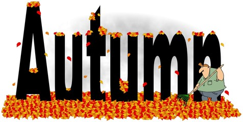 Illustration of the word autumn with a man raking leaves.