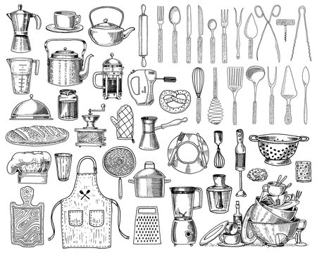 Apron or pinaphora and Hood, rolling pin and saucepan or corolla, wooden board. Chef and dirty kitchen utensils, cooking stuff for menu decoration. engraved hand drawn in old sketch and vintage style.