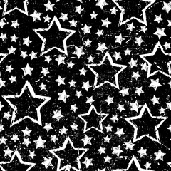 abstract seamless stars pattern. Grunge urban background in black and white colors for girls, boys, childish, fashion and sport clothes. Silhouette repeated backdrop.