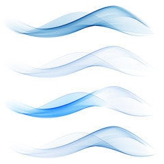 Set of abstract blue waves.