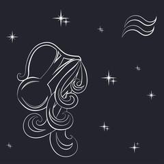 Zodiac Aquarius is the starry sky