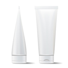 Tube Vector Mock Up. Empty Clean. Cream, Cosmetic Products Blank 3D Tube. Isolated Cosmetic Packaging