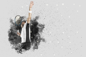 Tennis Player coming out of a blast of smoke .