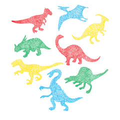 Cute colorful different dinosaur silhouette in cartoon scribble style