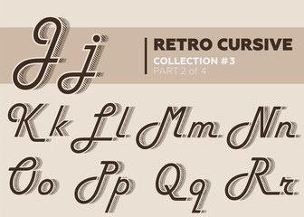 Retro Character Typeset. Vintage Layered Font with Striped Shadow.