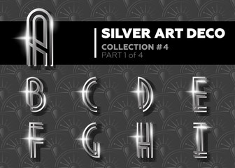 Vector Art Deco Font. Shining Silver Retro Alphabet. Gatsby Style. Metallic Vintage Letters for Poster, Placard, Flyer, Party, Wedding Invitation, Banner.