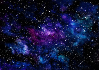 Watercolor Deep Blue Nebula and Violet Shine