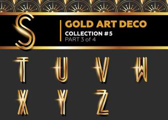 Vector Art Deco 3D Font. Shining Gold Retro Alphabet.