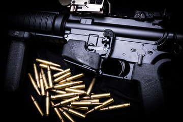 M4A1 assult rifle on black background