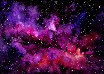 Watercolor Bright Pink Clouds and Outer Space