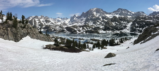 Fremont Peak and Island Lake in the Wind River Range, Wyoming