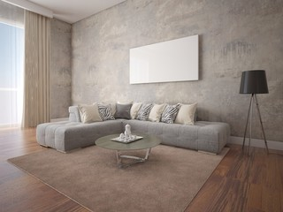 Mock up a spacious living room with a stylish corner sofa on the hipster background.
