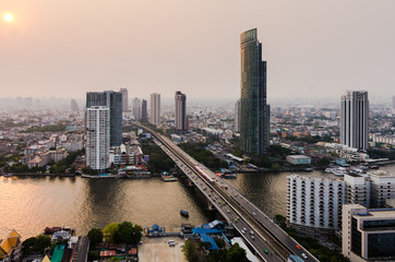 evening view in Bangkok city thailand