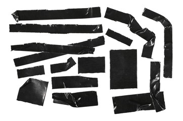 Duct repair tape black set, collection patterns kit isolated