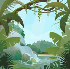 Rainforest in jungle with palms and waterfall