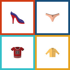 Flat Icon Clothes Set Of T-Shirt, Banyan, Lingerie And Other Vector Objects. Also Includes Blouse, Heeled, Sandal Elements.