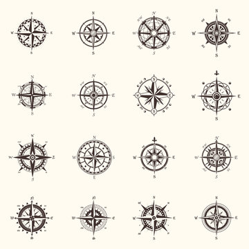 Old compass or ocean, sea navigation wind rose
