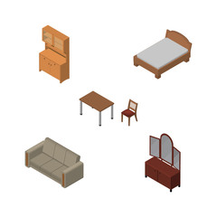 Isometric Furnishing Set Of Cupboard, Drawer, Couch And Other Vector Objects. Also Includes Bed, Wardrobe, Settee Elements.