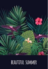 Floral vertical postcard design with hibiscus flowers, monstera and royal palm leaves. Exotic hawaiian vector background.