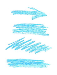 photo set, collection grunge blue wax pastel crayon spot isolated on white background
