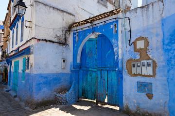 Deurstickers Marokko front door in blue town chefchaouen, morocco