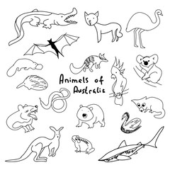Animals of Australia (a set of simple drawings)