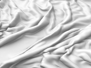 Rippled white silk fabric cloth waves abstract elegance background