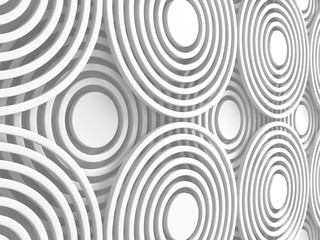 White Abstract Round Shapes Pattern Architecture Background