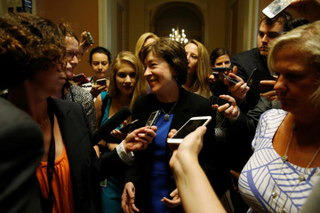 Collins departs after a Senate Republican caucus meeting about an expected unveiling of Senate Republicans' revamped proposal to replace Obamacare health care legislation at the U.S. Capitol in Washington