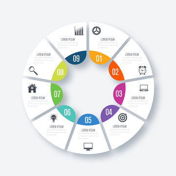 Infographics template 9 options with circle