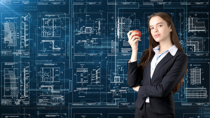 Businesswoman Architect Engineer Construction Design and Business Concept
