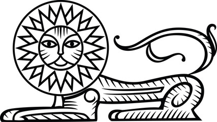 Abstract symbol of lion, black and white illustration