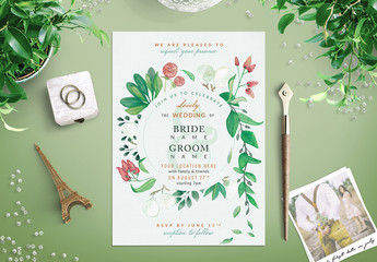Watercolor Wildflower Wedding Invitation 1