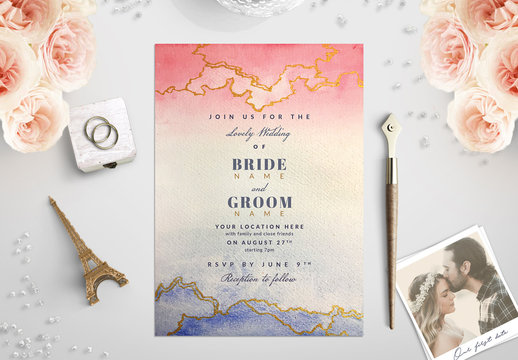 Pink and Blue Watercolor Wedding Invitation 1
